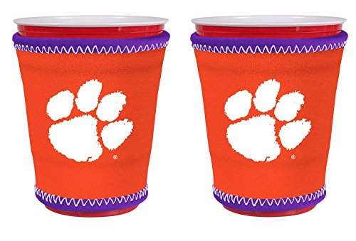 Tigers Team Logo Glass (NCAA College Team Logo New Drink Glass Cup Insulated Kup Holder 2-Pack (Clemson Tigers))