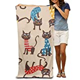 GHEDPO Beige Cat Animal Beach Towels For Adults