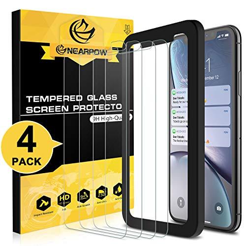 NEARPOW 【4枚入り】 iphone xr 専用液晶強化保護ガラスフィルム ガイド枠付き 3D Touch 極薄0.26mm 指紋防止 9H硬度 自動吸着貼りやすい 2.5Dラウンドエッジ 高透明度 スムーズ操作