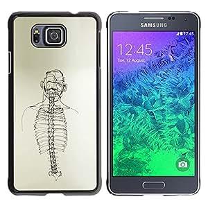 TopCaseStore / la caja del caucho duro de la cubierta de protección de la piel - Skeleton Spine Art Black White Pencil Drawing - Samsung GALAXY ALPHA G850