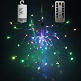 Leegoal Outdoor Fairy Starburst Lights, 8 Modes & 200 LEDs Hanging Starburst Lights Battery Powered Remote Control Decorative Lights for Home/Garden/ Outdoor/Christmas/ Party, Colorful