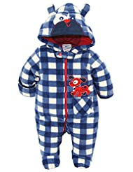 Duck Goose Baby Boys Plaid Print Cute Pappy Plush Footed Ear Pram Suit, Navy, 3-6 Months