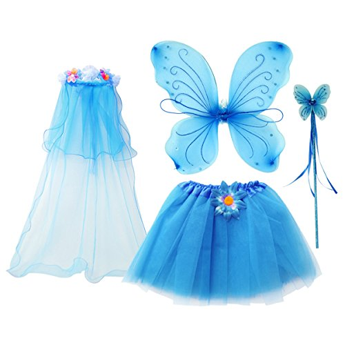 fedio 4Pcs Girls Princess Fairy Costume Set with Wings, Tutu, Wand and Floral Wreath Veil for Children Ages 3-6 (Blue Fairy Costume For Kids)