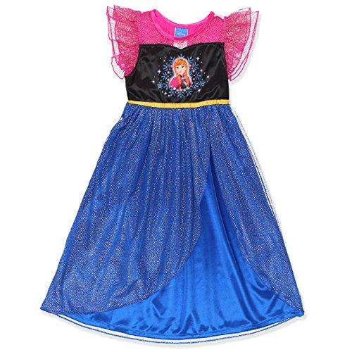 Princess Nightie (Disney Frozen Elsa Anna Girls Fantasy Gown Nightgown (4, Blue/Pink))
