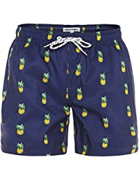 b96e850ffb5e Mens Slim Fit Quick Dry Short Anchor Swim Trunks with Mesh Lining