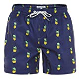 MaaMgic Mens Slim Fit Quick Dry Short Swim Trunks with Mesh Lining,Medium(Waist:31''-33''),New-qma199-pineapple