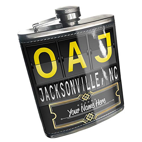 Neonblond Flask OAJ Airport Code for Jacksonville, NC Custom Name Stainless -