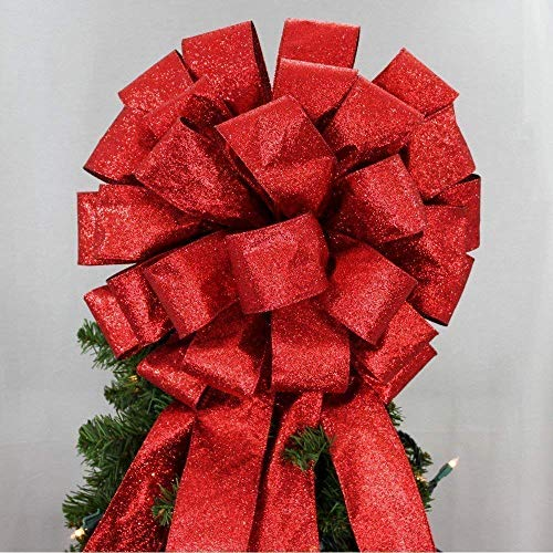 (Red Sparkle Lame Christmas Tree Topper Bow - 14