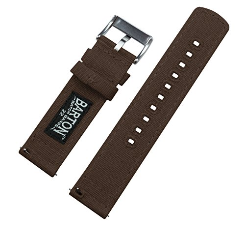BARTON Canvas Quick Release Watch Band Straps - Choose Color & Width - 18mm, 20mm, 22mm - Chocolate Brown 20mm by Barton Watch Bands (Image #3)