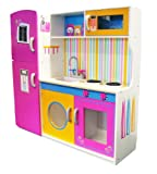 Evie & Jake Leomark Large Deluxe Pink Toy Kids Wooden Kitchen with Fridge and Microwave, Childrens Role Play Pretend Set for Cooking