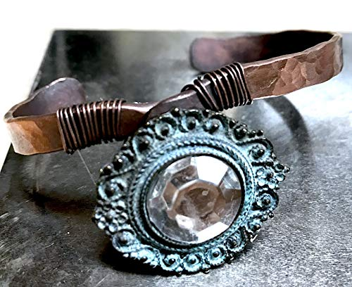 (Handmade Copper Forged, Hammered, Wire Wrapped Antiqued Button Cuff Bracelet)