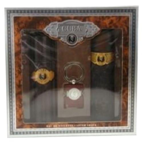 Parfum de France - PC205 - Cuba Gold - Coffret pour Homme - Eau de Toilette Vaporisateur 100 ml + Aftershave 100 ml + Porte-clé