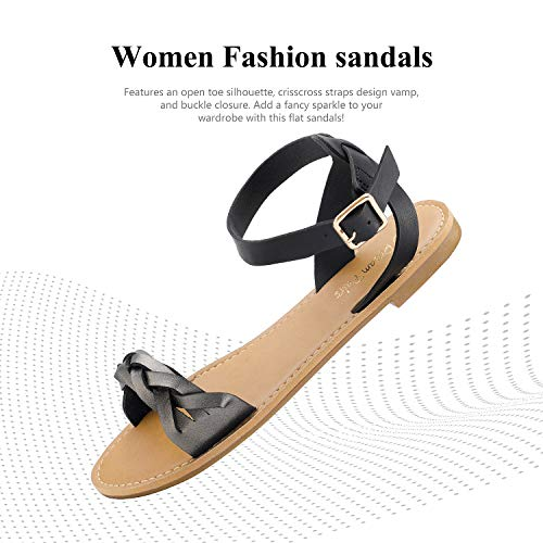 DREAM PAIRS Black Pewter Summer Sandals for Women Casual Open Toes Ankle Straps Buckle Fashion Flat Sandals, Soft Faux Leather Braided One Band Comfortable Slingback Dress Cute Flat Shoes Size 5 M US