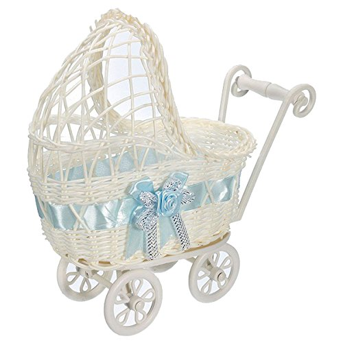 (Ben Collection Wicker Baby Girl 9 Inch Carriage Collection - Baby Shower Centerpiece Stroller Party Favors (Blue))