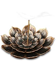 4 Inch Lotus Stick Incense Burner,Brass Incense Holder and Cone Incense Holder with Ash Catcher