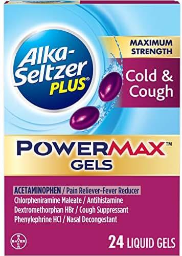 Alka-Seltzer Plus Maximum Strength Powermax Liquid Gels, Cold & Cough, 24 Count