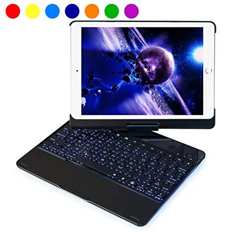 iPad 9.7 Keyboard Case for iPad 2017 5th Gen/ 2018 New iPad 6th Generation/iPad Pro 9.7/ iPad Air 2 & 1, Wireless/BT, 360 Rotate, 7 Color Backlit, Slim Smart Sleep-Wake Cover for Apple Tab - Black