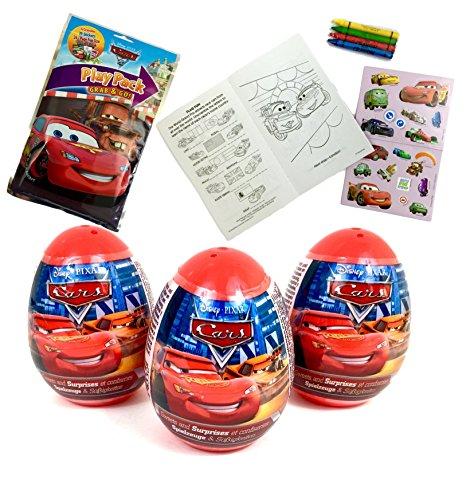 3 Disney Cars Plastic Surprise Eggs Plus Grab & Go PlayPack