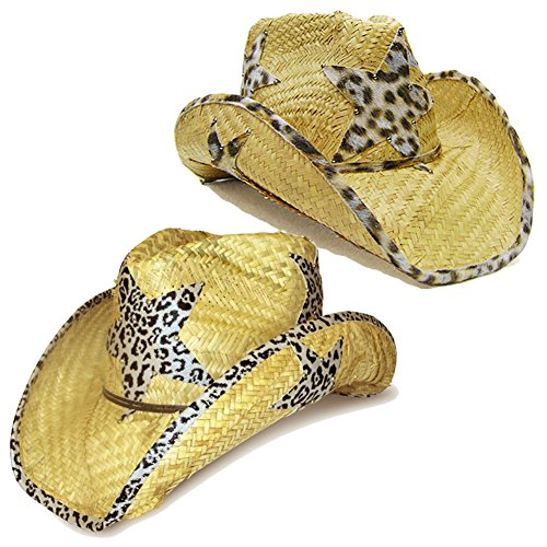 Modestone Value Pack 2 X Light Party Star Animal Print Straw Cowboy Hats Beige