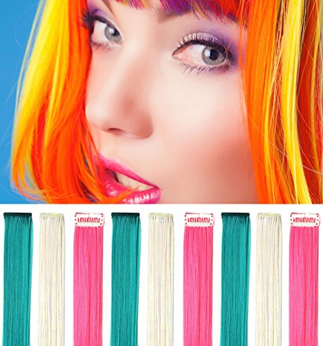 Rhyme Blue White Pink 20 Inch 9PCS Set Straight Colorful Colored Color Clip In/On Hair Extensions Wig Party Highlight Multi Colors Hairpieces For Woman/Girls/Lady (Color Clip)