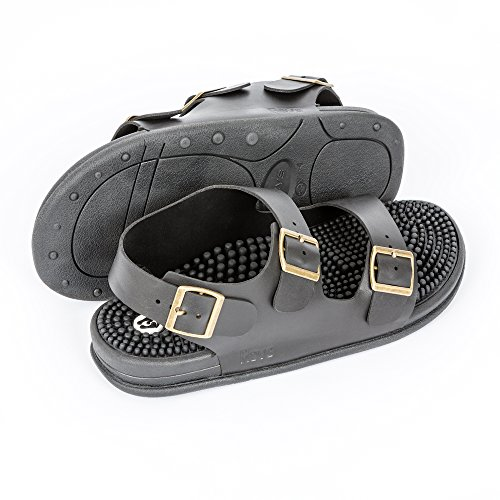 Revs Trek Massage Sandals for Men & Women. Comfortable Shock Absorbing Cushion Sole with Orthotic Arch Support Black pikDSStBtA