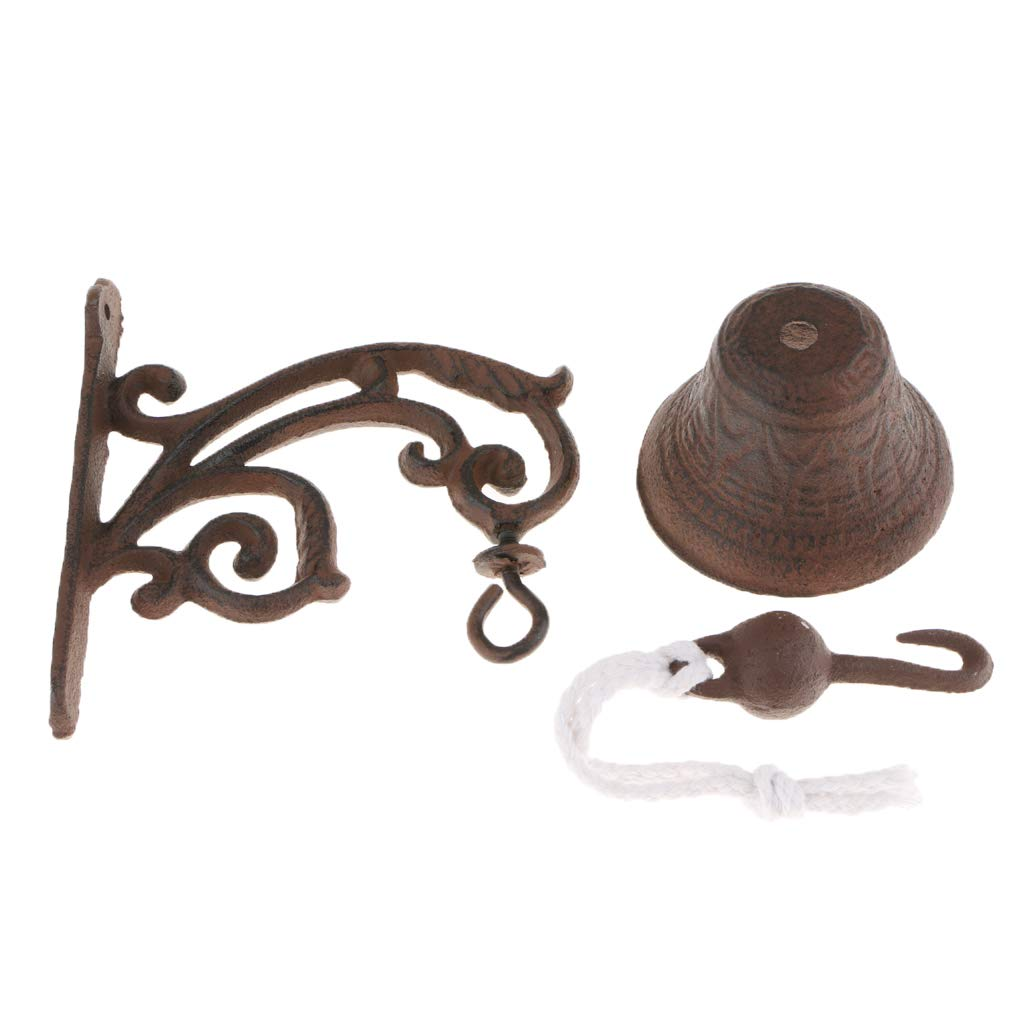 A Flameer Country Rustic Door Bell Wall Mounted Dinner Bell Cast Iron Wall Decorative Bell for Home Bar Shop Store