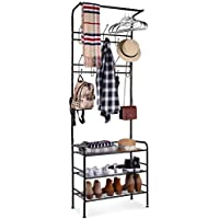 HOMFA Metal Entryway Coat Shoe Rack 3-tier Shoe Bench with Coat Hat Umbrella Rack 20 Hooks (Black)