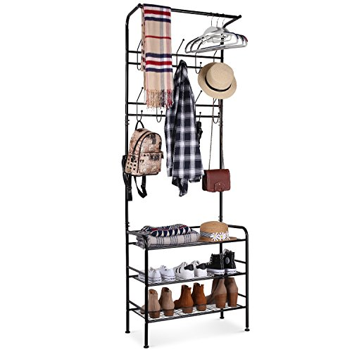 HOMFA Metal Entryway Coat Shoe Rack 3-tier Shoe Bench with Coat Hat Umbrella Rack 20 Hooks (Black) (Hall Shoe Storage)