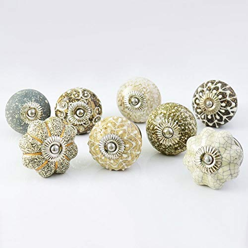 Set of 30 Assorted Hazel Handmade Ceramic Pumpkin and Round Knobs ulls for Cabinet / Girls Dresser/Kids Cupboard/Kitchen Drawer Handles with Hardware Attached by Pastel Country