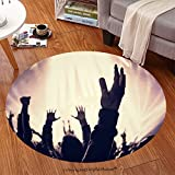 Sophiehome Soft Carpet 208710631 Grunge style photo of silhouette of people hands raised up on musical concert, enjoying music, dance club, active night life conce Anti-skid Carpet Round 24 inches