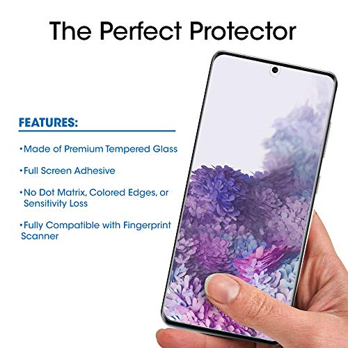 amFilm Ultra Glass Screen Protector for Galaxy S20 Plus (2 Pack), Full Cover (Fingerprint Scanner Compatible) Tempered Glass Film (UV...