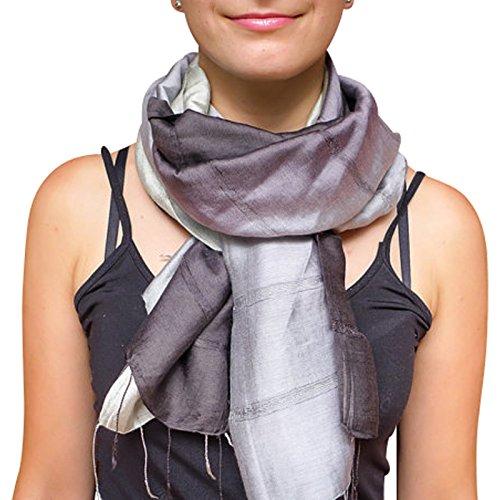 Unique Wrappable Silk Scarf. Handmade Blue Silk Scarves Wrap (Grey) ()