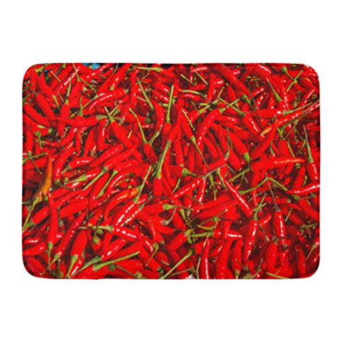 (Emvency Doormats Bath Rugs Outdoor/Indoor Door Mat Green Abstract Red Hot Chili Peppers As Food Mexican Capsicum Cayenne Bathroom Decor Rug Bath Mat 16