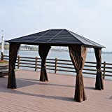 Gazebo Curtains Outsunny 12 x 10 Steel Hardtop Outdoor Gazebo with Curtains - Brown/Black