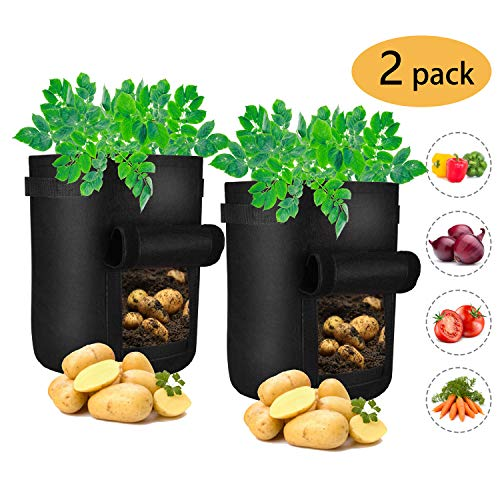 iTrunk 2 Pack Potato Grow Bags, 7 Gallon Plant Grow Bags with Visualized Velcro Window and Handles, Nonwoven Fabric Pots Container for Potato, Carrot, Tomato