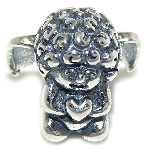 PJEWELRY 925 Solid Sterling Silver Cherub Holding a Heart Charm Bead