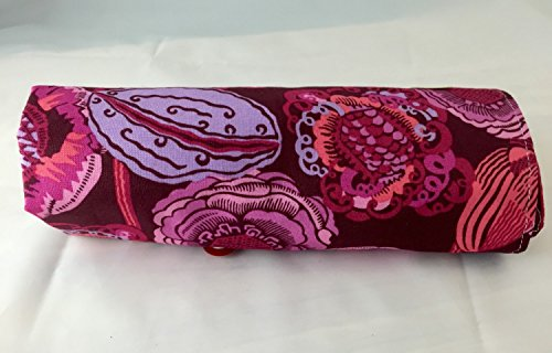Makeup Brush Roll Up Bag Holder - Amy Butler Bright Heart Coco Bloom in Plum Purple by EcoHip Custom Designs