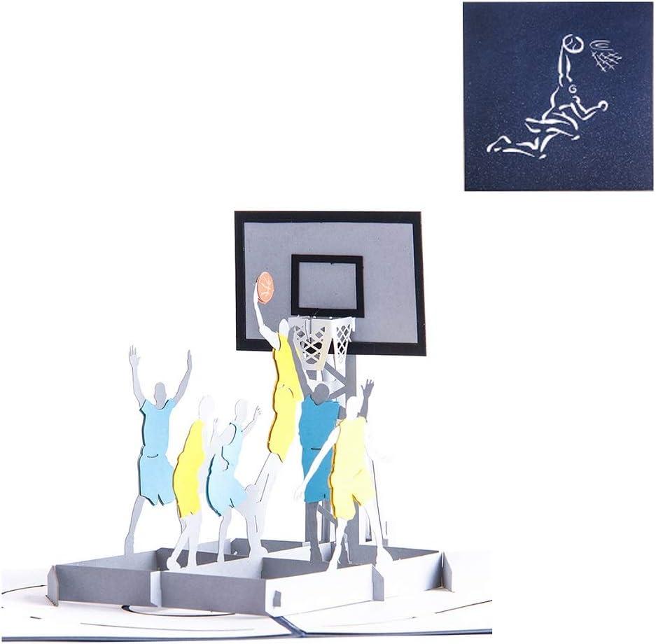 DEESOSPRO® [Tarjeta de Cumpleaños] [Tarjeta de Aniversario] [Tarjeta de Graduación] con Patrón Emergente 3D Creativo, Regalo para Cumpleaños, Graduación, Navidad, Día del Padre (Jugar baloncesto)