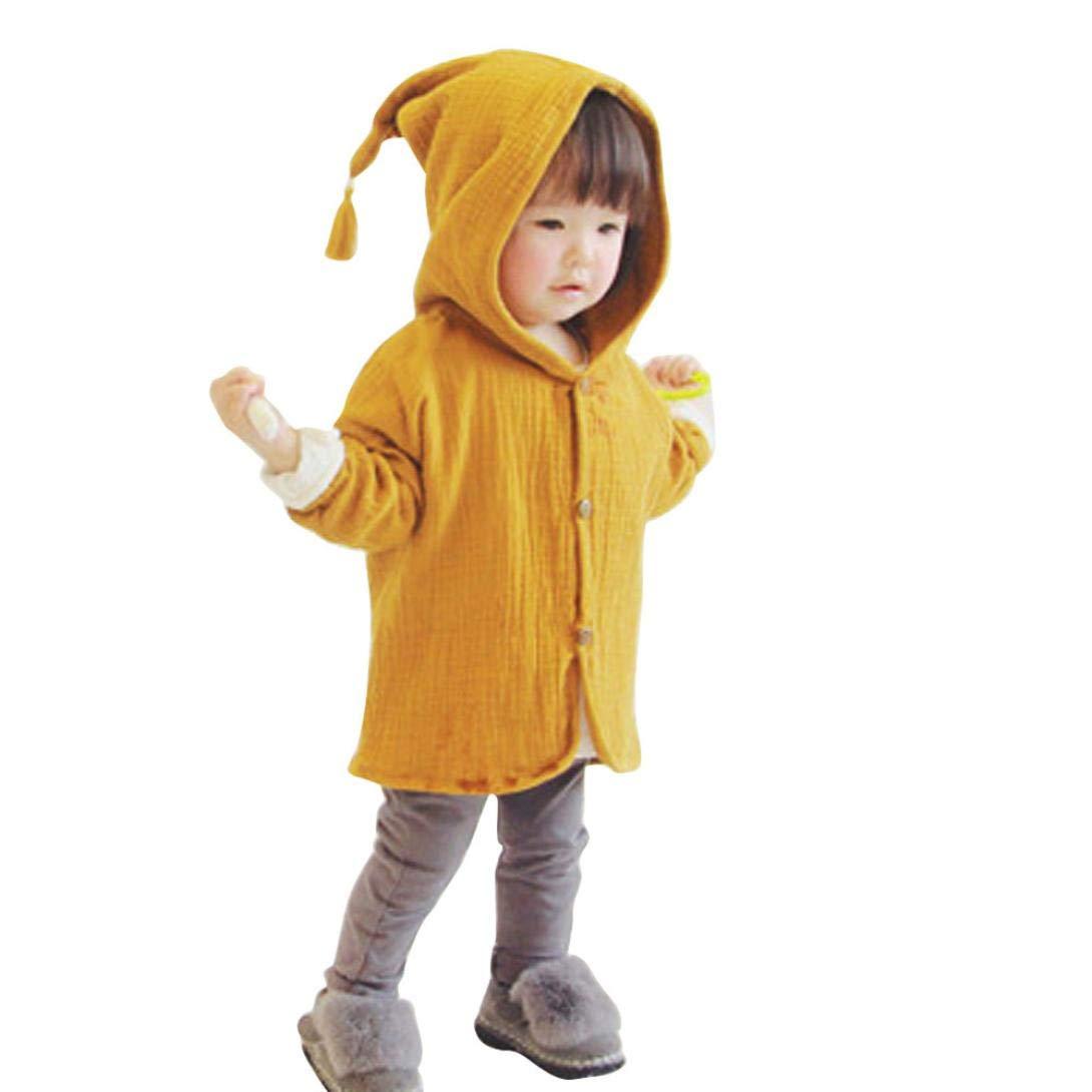 Yanhoo Enfant en Bas âge Bébé Enfants Filles Garçons Solide Chaud Manteau À Capuche Outfits Vêtements Veste Chaude Automne et Hiver Veste à Manches Longues à la Mode