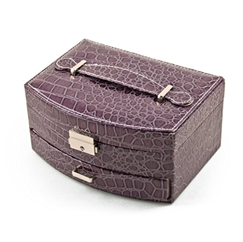 (MusicBoxAttic Elegant Curved Front Lavender Croc Skin Faux Leather Jewelry Box)