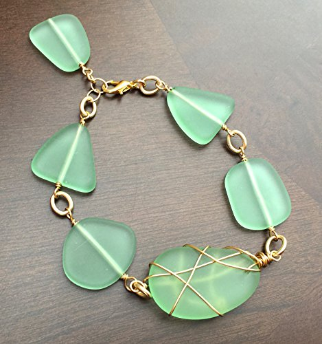 Sea Glass Bracelet Recycled Glass Frosted Glass Gold Wire Wrapped Handmade Beach Glass Green Sea Glass Jewelry ()