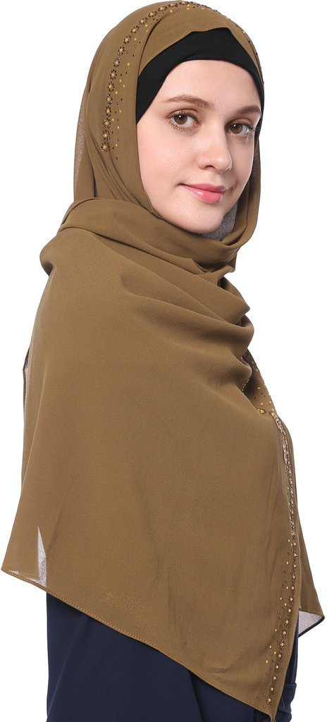 YI HENG MEI Women's Modest Muslim Soft Chiffon Rhinestones Long Hijab Headscarf with Buttons 70×25inch,Tan by YI HENG MEI (Image #4)