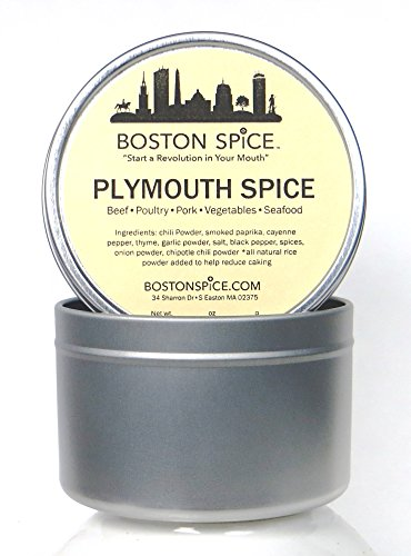Boston Spice Plymouth Spice Barbecue Seasoning Rub For Turkey Chicken Ham Pork Meat Tunafish (Approx. 1 Cup of Spice in Metal Tin) (Bar Plymouth)