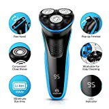 MOOSOO Shaver for Men, Triple Shaving Time Electric Rotary Razor for Shaving Wet Dry Waterproof Cordless with Pop-up Trimmer USB Rechargeable, G2