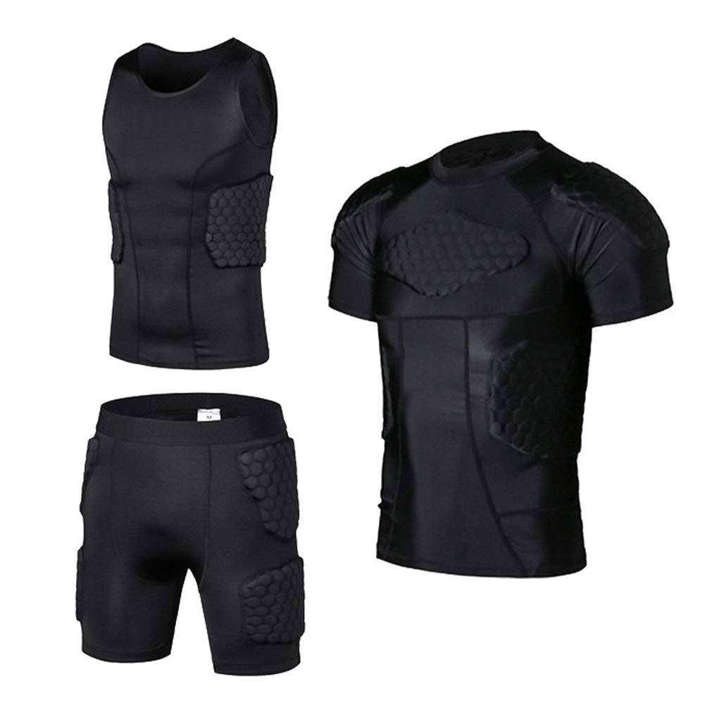 TZTZD Rib Chest Predector Padded Compression Vest Black Sleeveless Padded Compression Shirt and Shorts