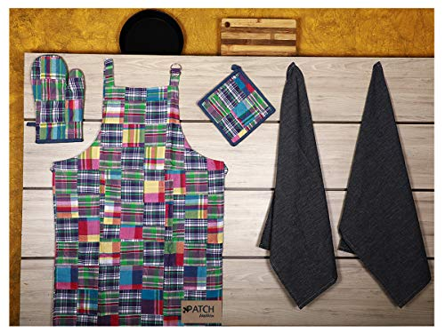 Kitchen Combo Set, Green Patch work, 100% Cotton, Apron, 1-Oven Mitt, 1-Potholder, 2-Kitchen Towels, Perfect for gifting, Unique Design