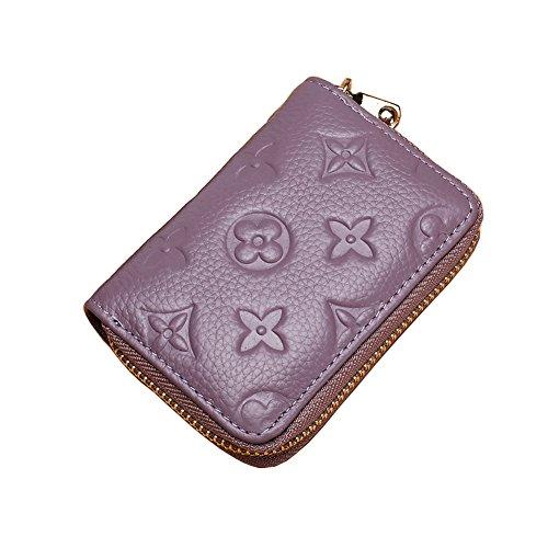 - Women RFID Blocking Credit Card Holder Wallet Men Leather Multi Zipper Purse (purple)