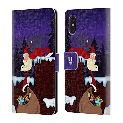 (Head Case Designs Chimney Thin Santa Leather Book Wallet Case Cover Compatible for Xiaomi Mi 8 Pro)