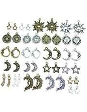 HEALLILY 80pcs Sun Moon Star Charms Alloy Charms Pendants DIY for Necklace Bracelet Jewelry Making and Crafting