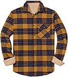 ZIOLOMA Men's Long Sleeve Flannel Solid Dress Shirts Western Button Down Shirts (Yellow, Large)